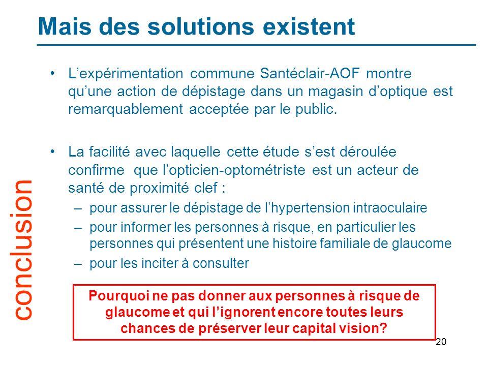 20 Mais des solutions existent Lexpérimentation commune Santéclair-AOF montre quune action de dépistage dans un magasin doptique est remarquablement acceptée par le public.
