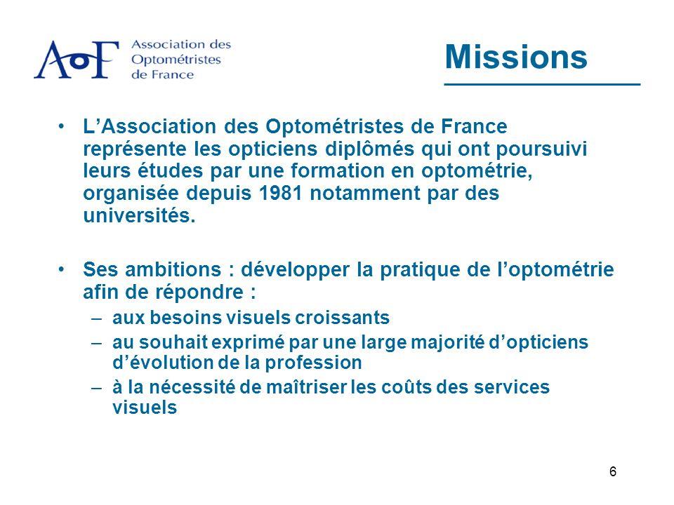 6 Missions LAssociation des Optométristes de France représente les opticiens diplômés qui ont poursuivi leurs études par une formation en optométrie, organisée depuis 1981 notamment par des universités.