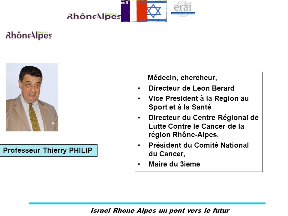 Israel Rhone Alpes un pont vers le futur Médecin, chercheur, Directeur de Leon Berard Vice President à la Region au Sport et à la Santé Directeur du C