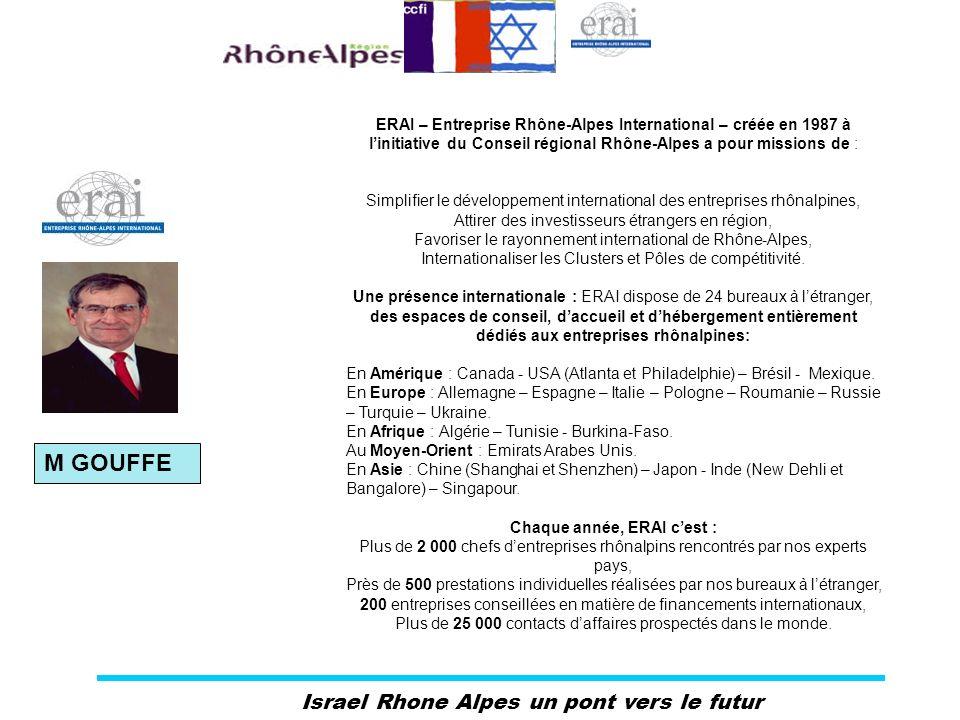 Israel Rhone Alpes un pont vers le futur ERAI – Entreprise Rhône-Alpes International – créée en 1987 à linitiative du Conseil régional Rhône-Alpes a p