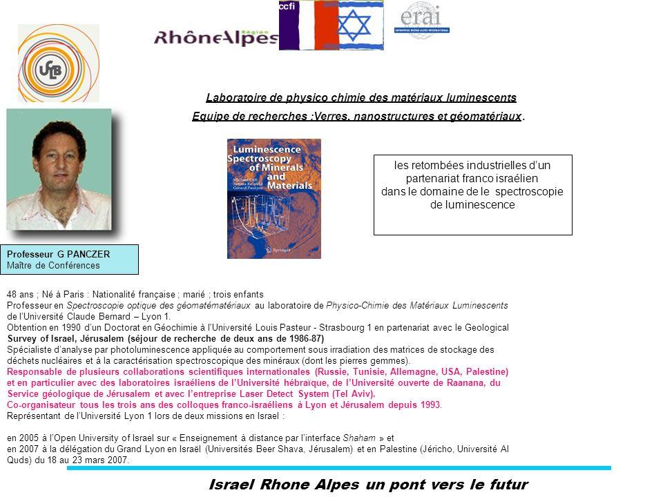 Israel Rhone Alpes un pont vers le futur Professeur G PANCZER Maître de Conférences Laboratoire de physico chimie des matériaux luminescents Equipe de