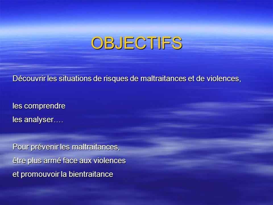 OBJECTIFS Découvrir les situations de risques de maltraitances et de violences, les comprendre les analyser…. Pour prévenir les maltraitances, être pl