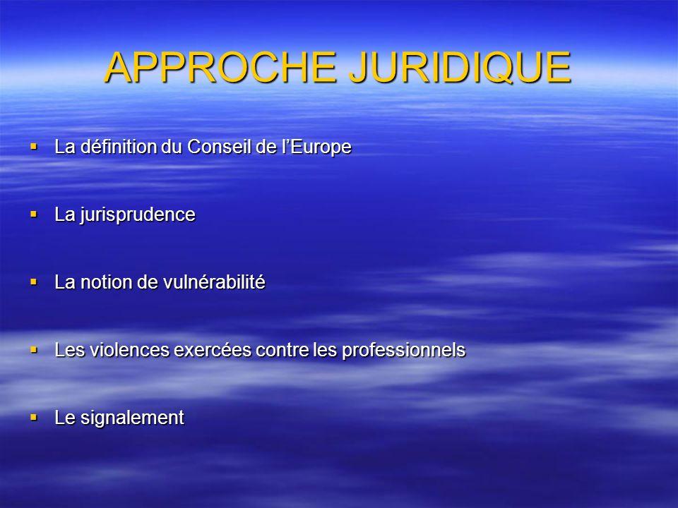 APPROCHE JURIDIQUE La définition du Conseil de lEurope La définition du Conseil de lEurope La jurisprudence La jurisprudence La notion de vulnérabilit