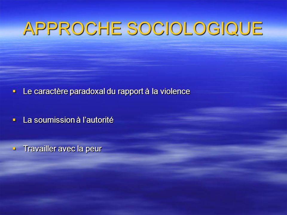 APPROCHE SOCIOLOGIQUE Le caractère paradoxal du rapport à la violence Le caractère paradoxal du rapport à la violence La soumission à lautorité La sou