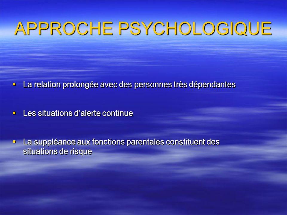 APPROCHE PSYCHOLOGIQUE La relation prolongée avec des personnes très dépendantes La relation prolongée avec des personnes très dépendantes Les situati