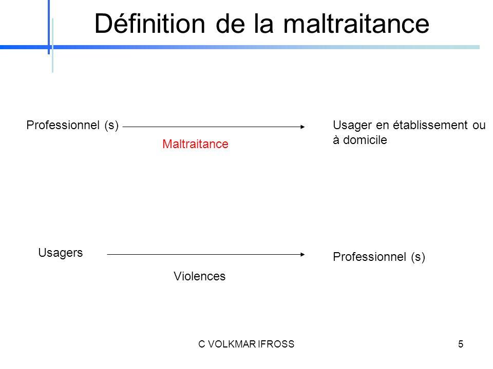 Définition de la maltraitance Professionnel (s) Usagers Professionnel (s) Usager en établissement ou à domicile Maltraitance Violences 5C VOLKMAR IFROSS