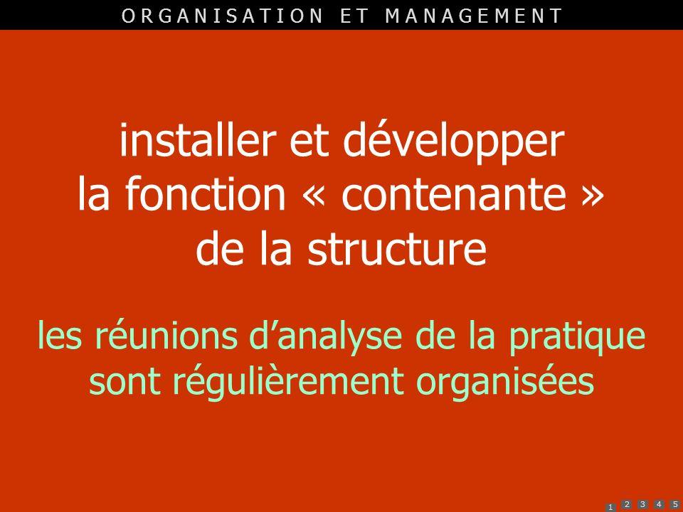 1 2345 installer et développer la fonction « contenante » de la structure les réunions danalyse de la pratique sont régulièrement organisées O R G A N