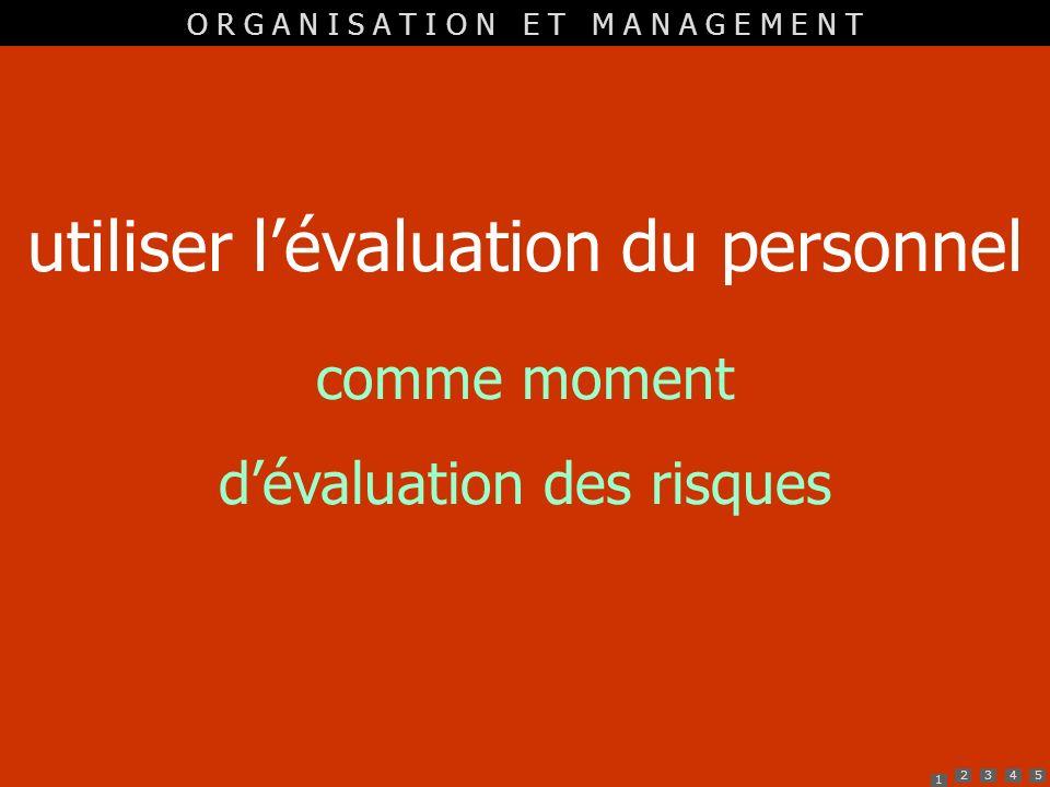 1 2345 utiliser lévaluation du personnel comme moment dévaluation des risques O R G A N I S A T I O N E T M A N A G E M E N T