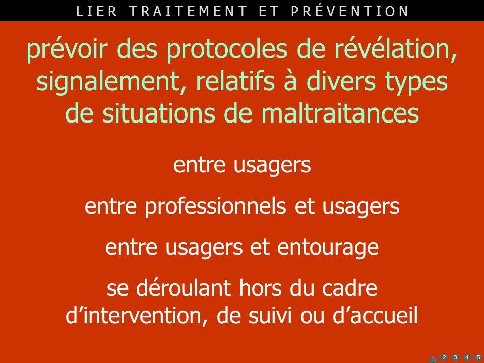 1 2345 prévoir des protocoles de révélation, signalement, relatifs à divers types de situations de maltraitances entre usagers entre professionnels et