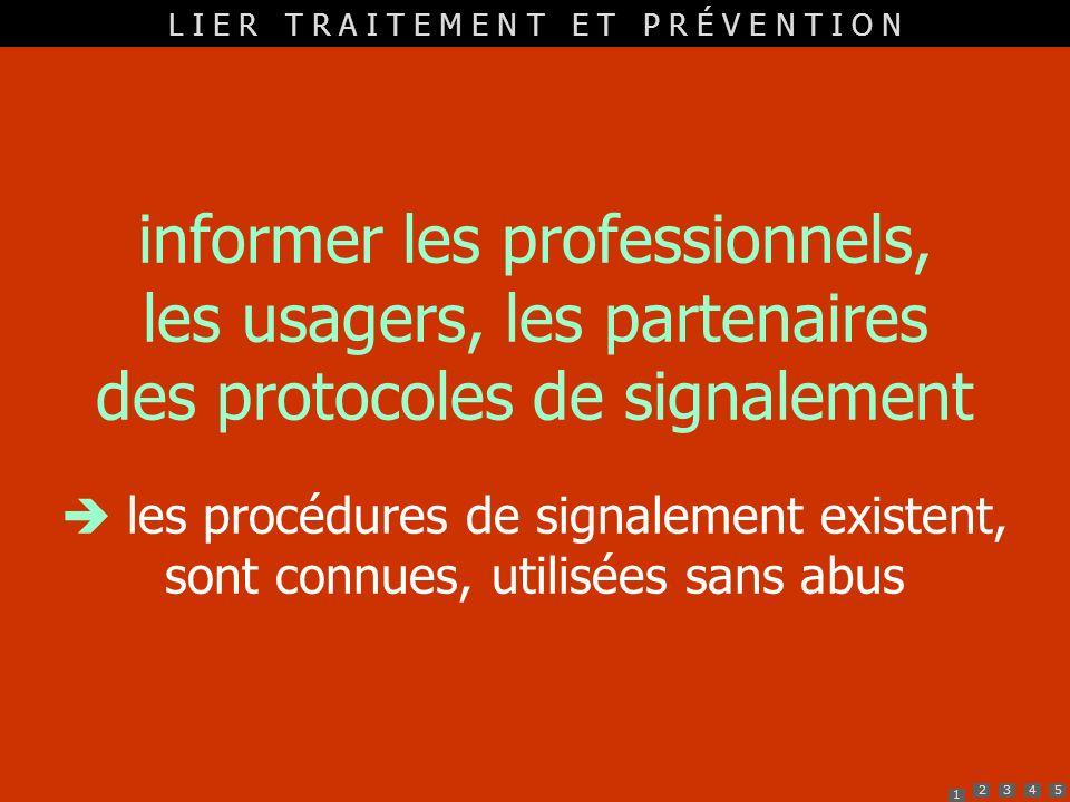 1 2345 informer les professionnels, les usagers, les partenaires des protocoles de signalement les procédures de signalement existent, sont connues, u