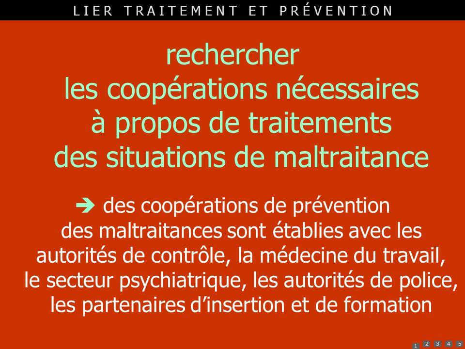 1 2345 rechercher les coopérations nécessaires à propos de traitements des situations de maltraitance des coopérations de prévention des maltraitances