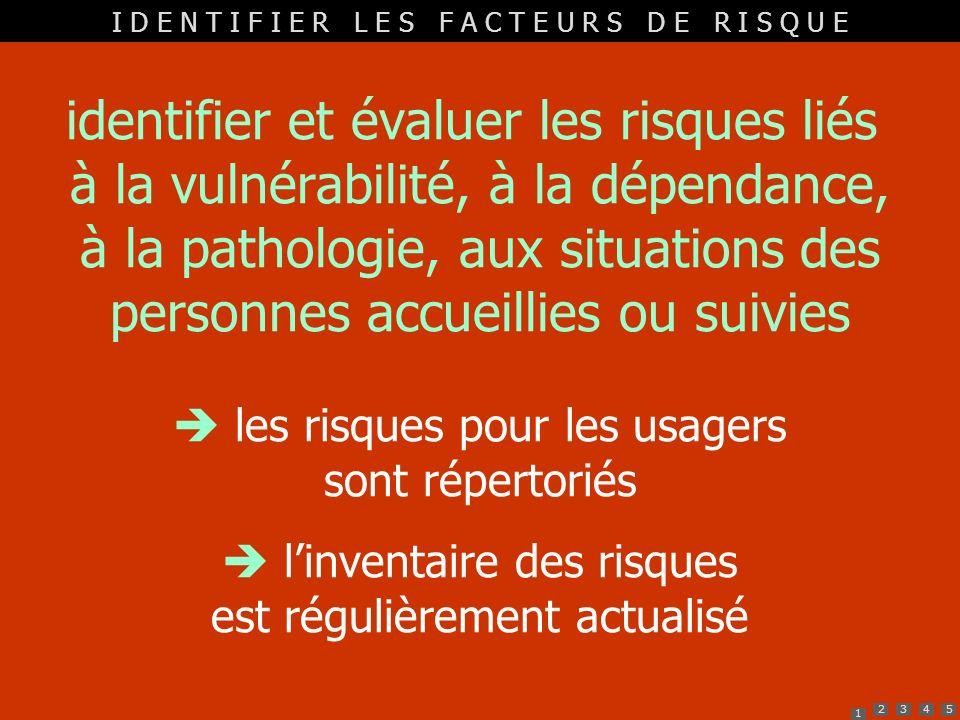 1 2345 identifier et évaluer les risques liés à la vulnérabilité, à la dépendance, à la pathologie, aux situations des personnes accueillies ou suivie