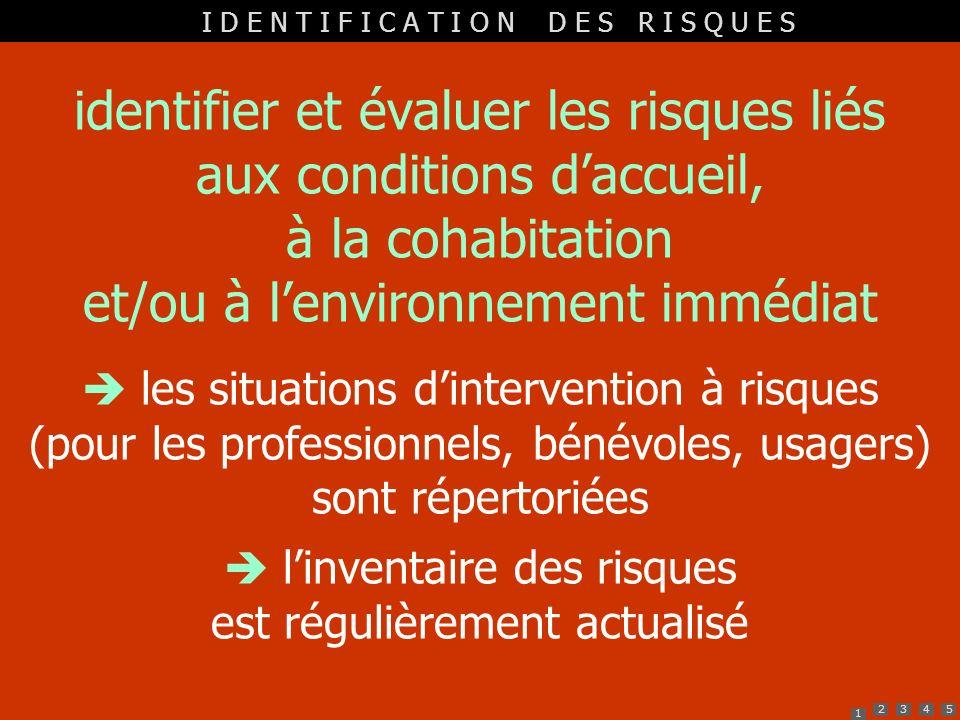 1 2345 identifier et évaluer les risques liés aux conditions daccueil, à la cohabitation et/ou à lenvironnement immédiat les situations dintervention