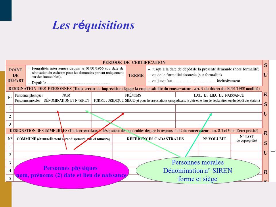 Les réquisitions Personnes morales Dénomination n° SIREN forme et siège Personnes physiques nom, prénoms (2) date et lieu de naissance