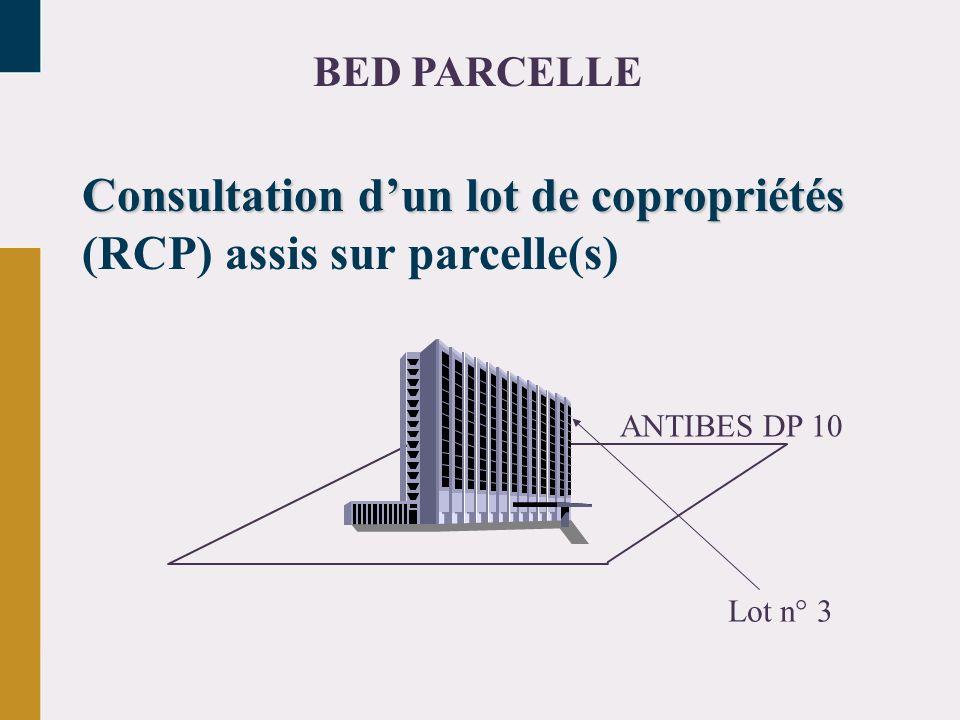 Consultation dun lot de copropriétés Consultation dun lot de copropriétés (RCP) assis sur parcelle(s) Lot n° 3 ANTIBES DP 10 BED PARCELLE