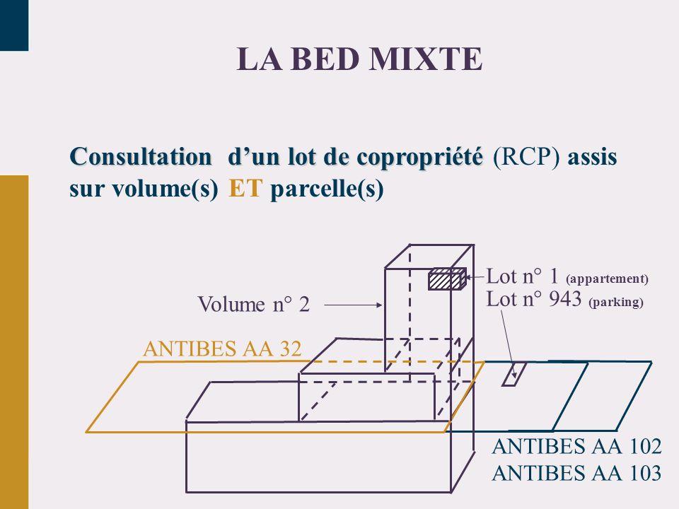 Consultation dun lot de copropriété Consultation dun lot de copropriété (RCP) assis sur volume(s) ET parcelle(s) LA BED MIXTE ANTIBES AA 32 Lot n° 943