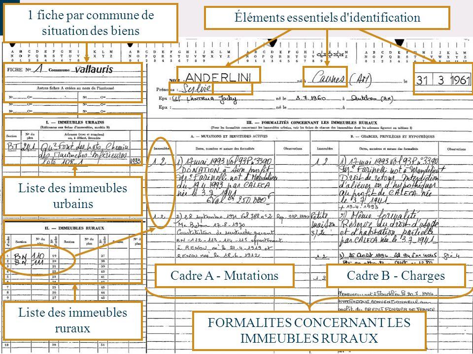 1 fiche par commune de situation des biens Éléments essentiels d'identification Liste des immeubles ruraux Liste des immeubles urbains Cadre A - Mutat
