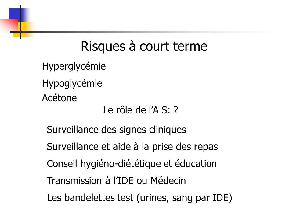 Risques à court terme Hyperglycémie Hypoglycémie Acétone Le rôle de lA S: .