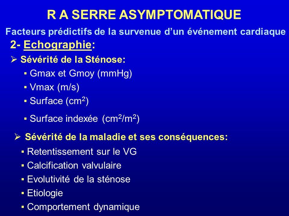 2- Echographie: Sévérité de la Sténose: Gmax et Gmoy (mmHg) Vmax (m/s) Surface (cm 2 ) Surface indexée (cm 2 /m 2 ) Sévérité de la maladie et ses cons