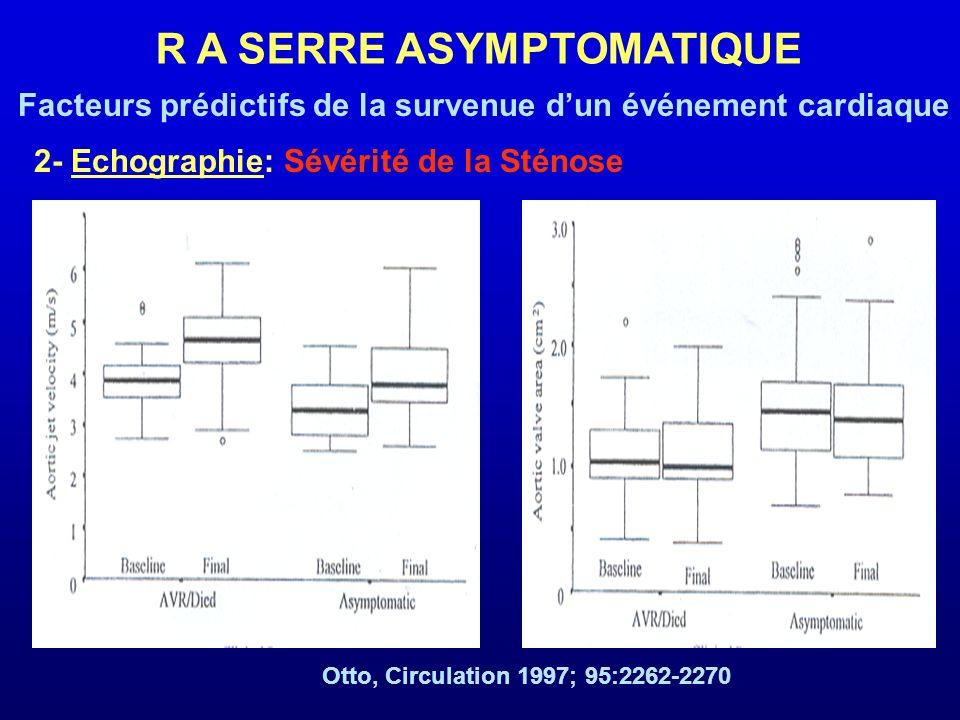 2- Echographie: Sévérité de la Sténose R A SERRE ASYMPTOMATIQUE Facteurs prédictifs de la survenue dun événement cardiaque Otto, Circulation 1997; 95: