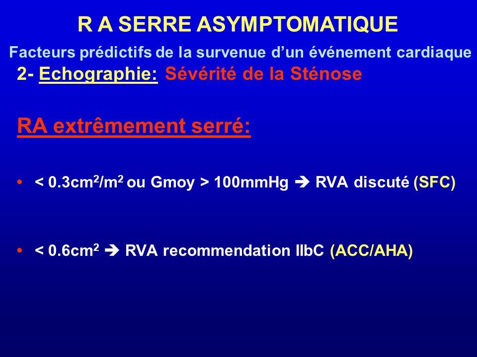 2- Echographie: Sévérité de la Sténose RA extrêmement serré: 100mmHg RVA discuté (SFC) < 0.6cm 2 RVA recommendation IIbC (ACC/AHA) R A SERRE ASYMPTOMA