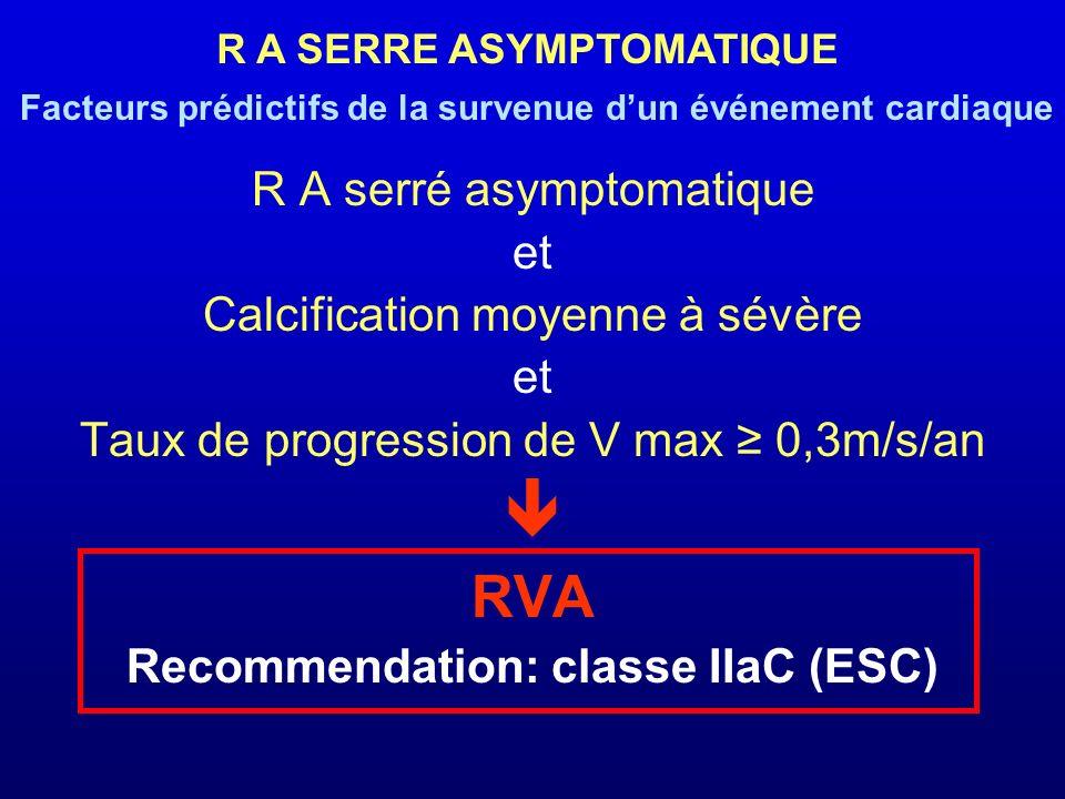 R A serré asymptomatique et Calcification moyenne à sévère et Taux de progression de V max 0,3m/s/an RVA Recommendation: classe IIaC (ESC) R A SERRE A