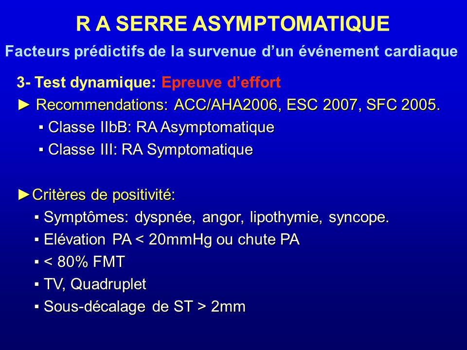 3- Test dynamique: Epreuve deffort Recommendations: ACC/AHA2006, ESC 2007, SFC 2005. Recommendations: ACC/AHA2006, ESC 2007, SFC 2005. Classe IIbB: RA