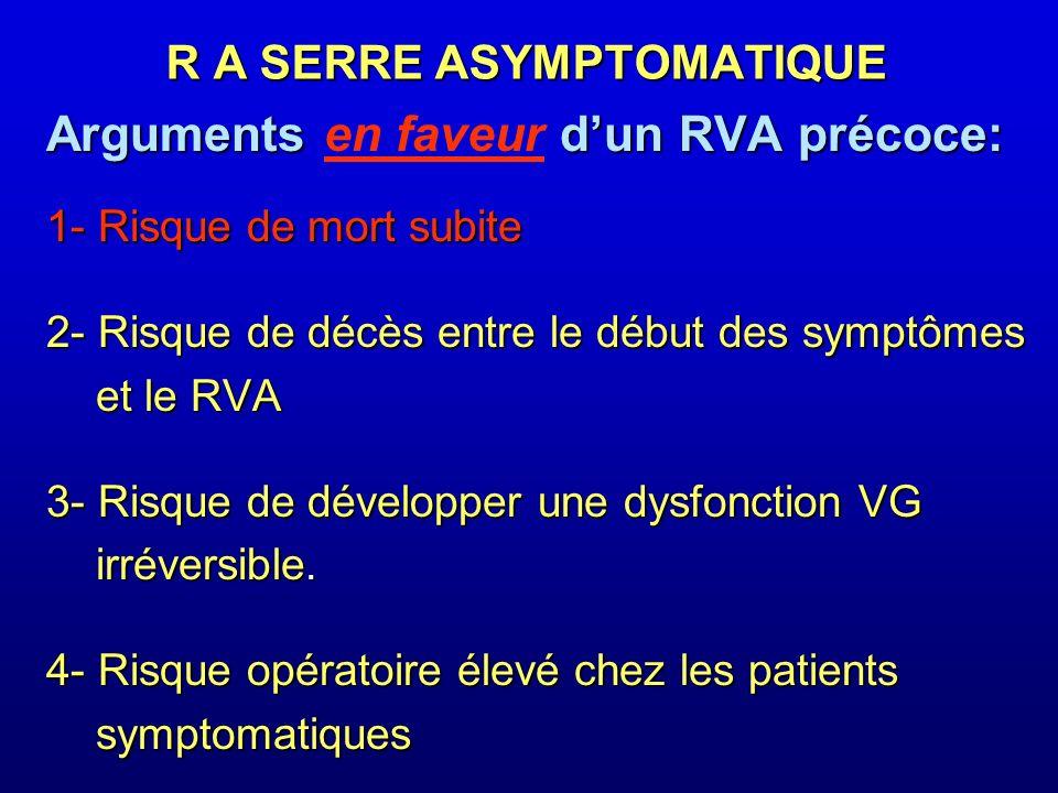 Arguments dun RVA précoce: Arguments en faveur dun RVA précoce: 1- Risque de mort subite R A SERRE ASYMPTOMATIQUE RVA pour prévenir la MS: Recom.