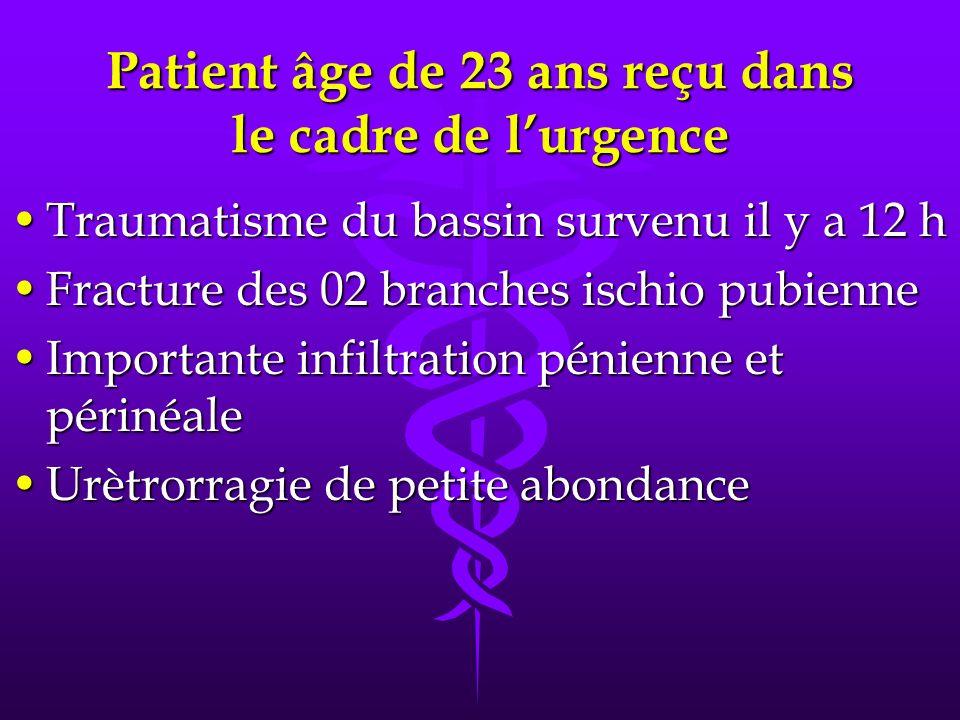 Patient âge de 23 ans reçu dans le cadre de lurgence Traumatisme du bassin survenu il y a 12 hTraumatisme du bassin survenu il y a 12 h Fracture des 0