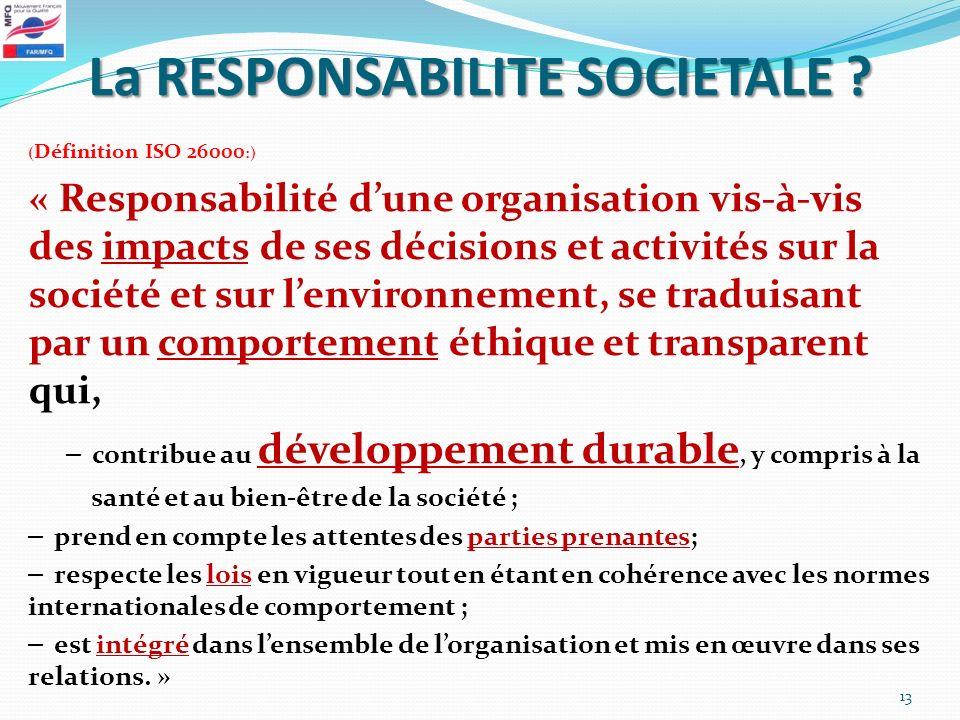 La RESPONSABILITE SOCIETALE ? ( Définition ISO 26000 :) « Responsabilité dune organisation vis-à-vis des impacts de ses décisions et activités sur la