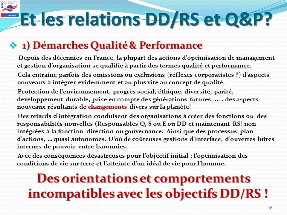 Et les relations DD/RS et Q&P? 1) Démarches Qualité & Performance 1) Démarches Qualité & Performance Depuis des décennies en France, la plupart des ac