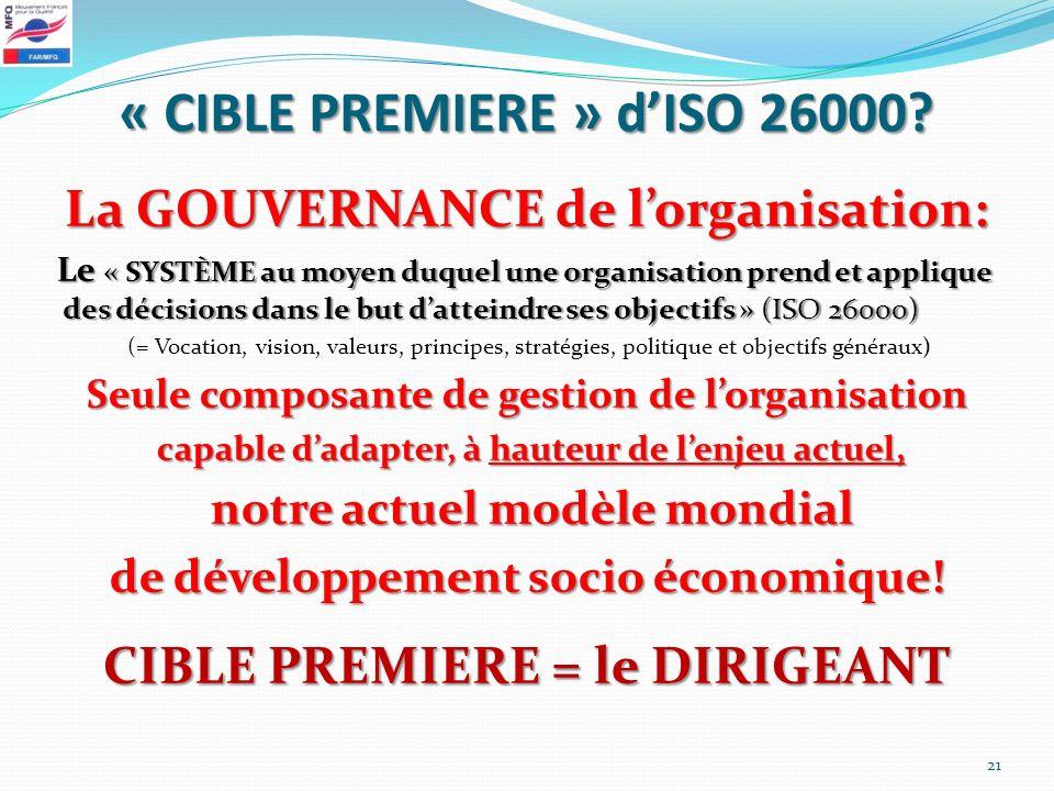 « CIBLE PREMIERE » dISO 26000? La GOUVERNANCE de lorganisation: Le « SYSTÈME au moyen duquel une organisation prend et applique des décisions dans le