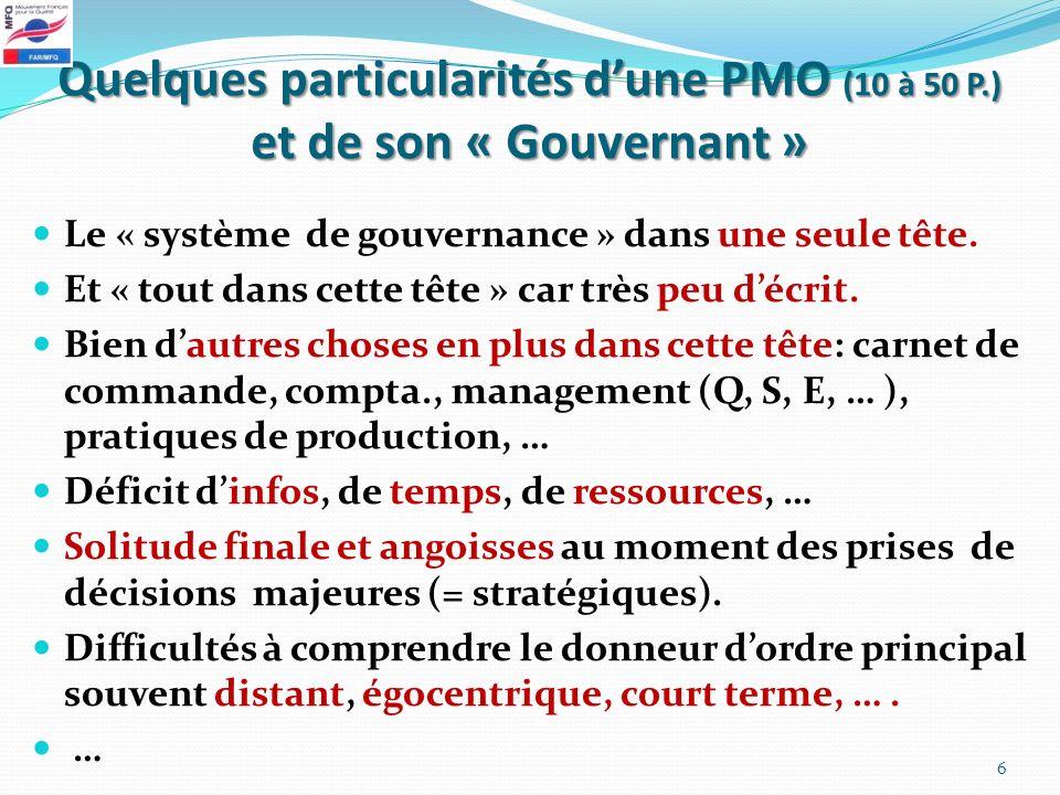 Quelques particularités dune PMO (10 à 50 P.) et de son « Gouvernant » Le « système de gouvernance » dans une seule tête. Et « tout dans cette tête »