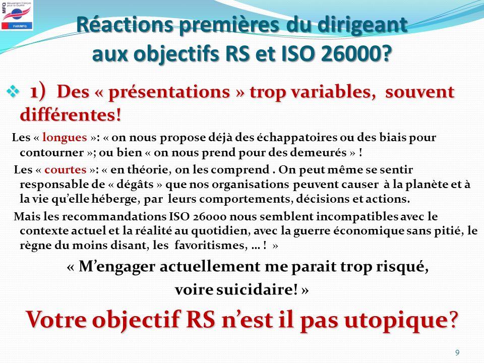 Réactions premières du dirigeant aux objectifs RS et ISO 26000? 1) Des « présentations » trop variables, souvent différentes! 1) Des « présentations »
