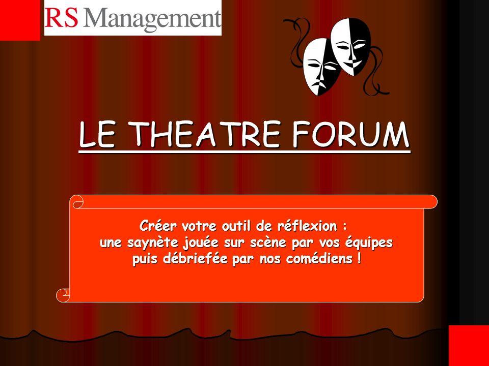 Présentation du théâtre forum Dispositif de formation permettant aux participants dun séminaire, dune convention ou dun stage de concevoir et de présenter un spectacle puis de lanalyser.