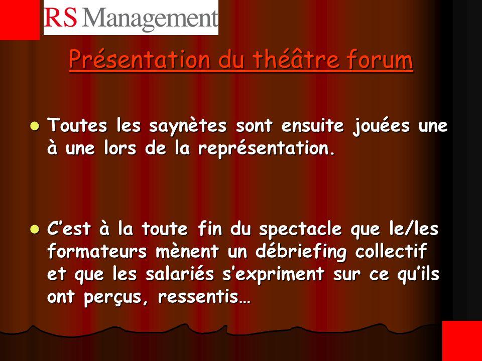 Présentation du théâtre forum Toutes les saynètes sont ensuite jouées une à une lors de la représentation. Toutes les saynètes sont ensuite jouées une