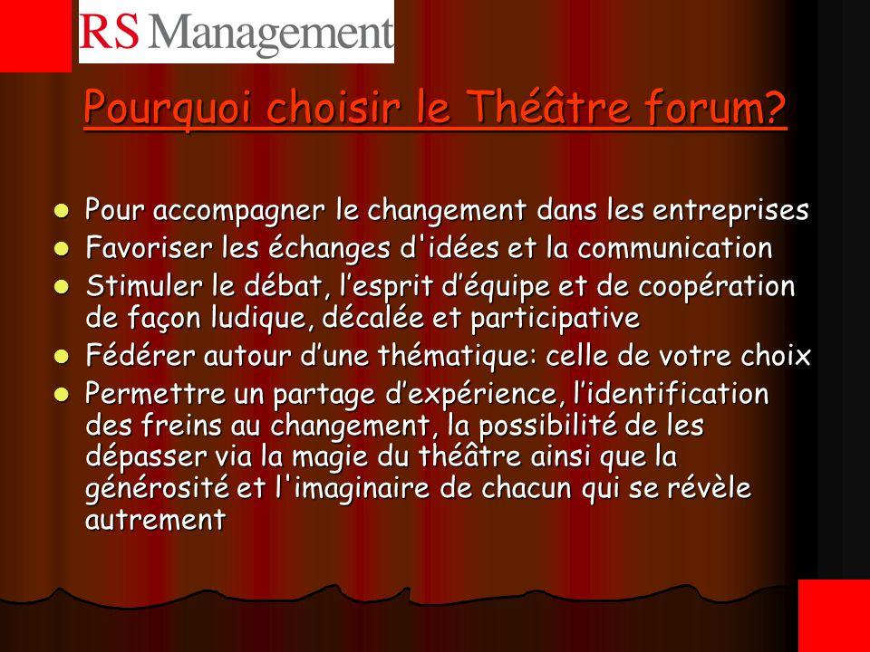 Pourquoi choisir le Théâtre forum? Pour accompagner le changement dans les entreprises Pour accompagner le changement dans les entreprises Favoriser l