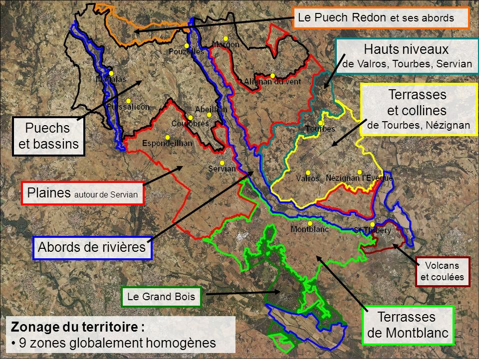 Zonage du territoire : 9 zones globalement homogènes Puechs et bassins Plaines autour de Servian Abords de rivières Le Grand Bois Terrasses de Montblanc Volcans et coulées Terrasses et collines de Tourbes, Nézignan Hauts niveaux de Valros, Tourbes, Servian Le Puech Redon et ses abords