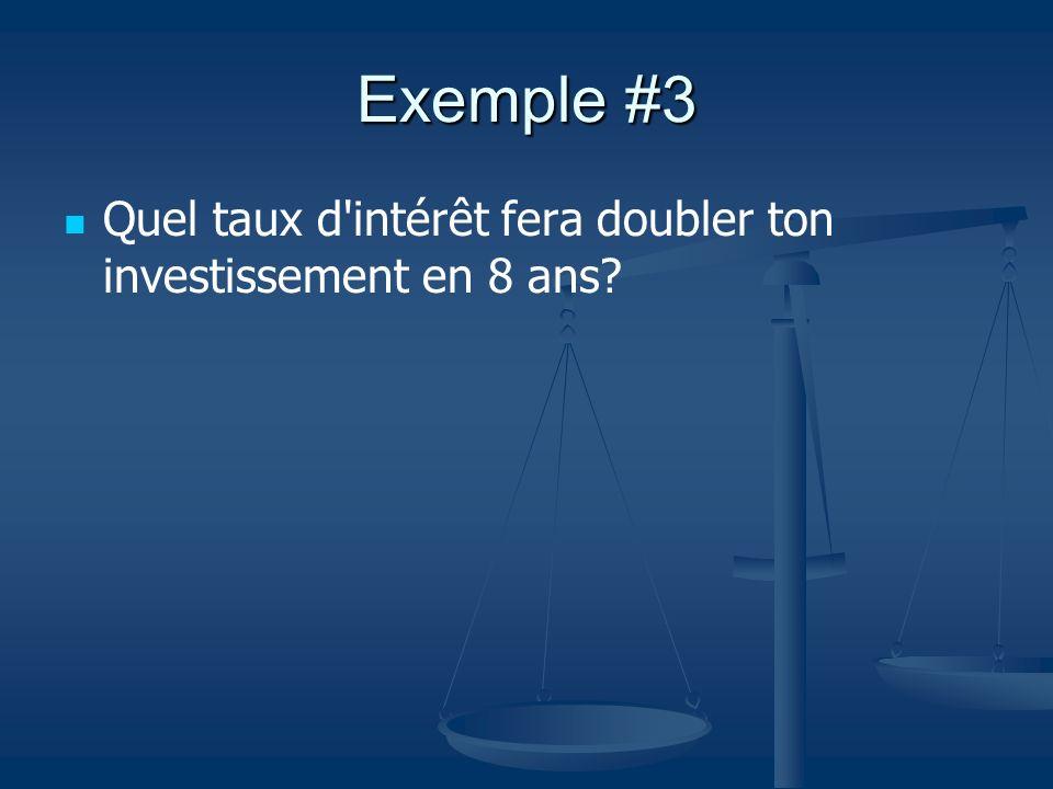 Exemple #3 Quel taux d'intérêt fera doubler ton investissement en 8 ans?