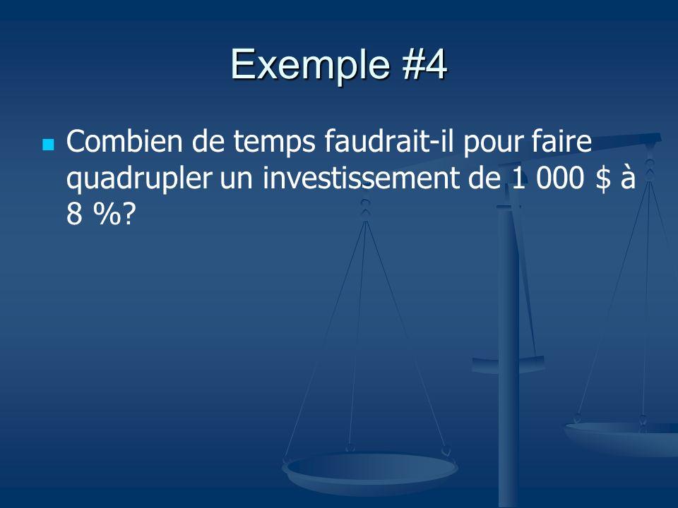Exemple #4 Combien de temps faudrait-il pour faire quadrupler un investissement de 1 000 $ à 8 %?