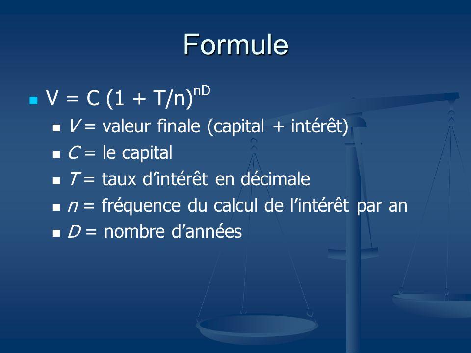 Formule V = C (1 + T/n) nD V = valeur finale (capital + intérêt) C = le capital T = taux dintérêt en décimale n = fréquence du calcul de lintérêt par