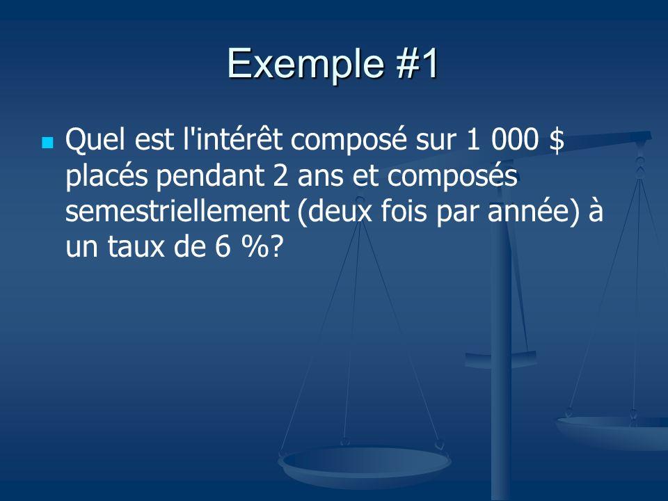 Exemple #1 Quel est l'intérêt composé sur 1 000 $ placés pendant 2 ans et composés semestriellement (deux fois par année) à un taux de 6 %?