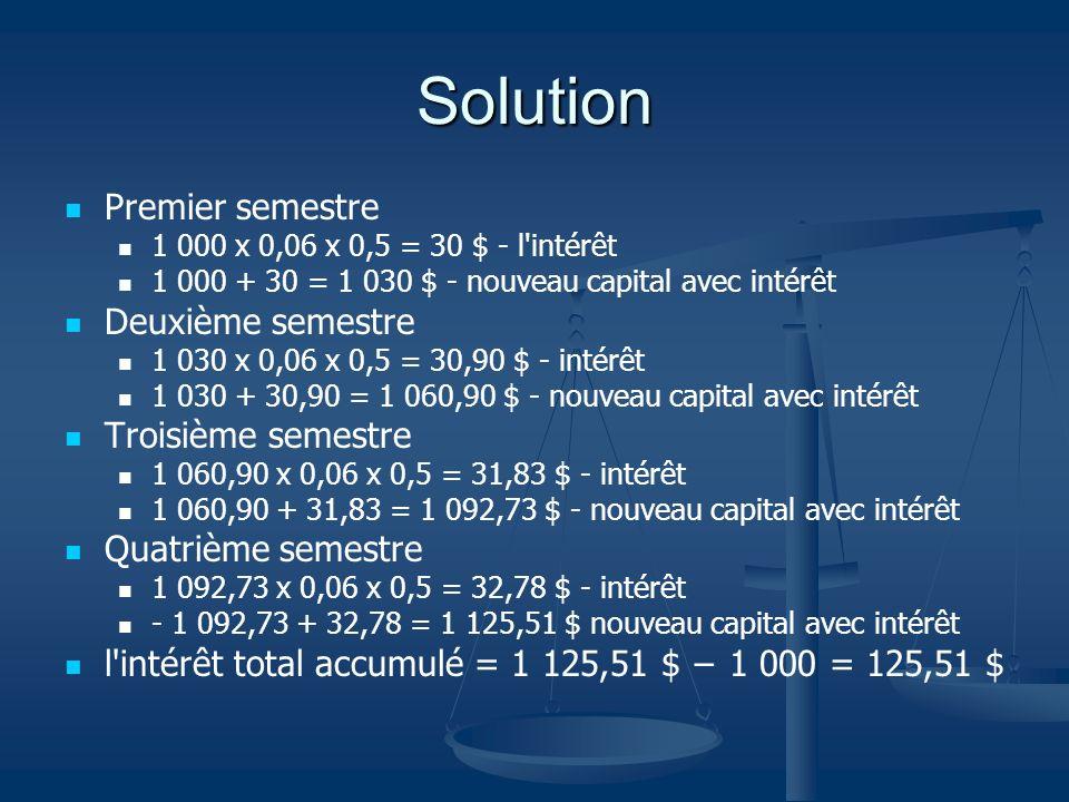 Solution Premier semestre 1 000 x 0,06 x 0,5 = 30 $ - l'intérêt 1 000 + 30 = 1 030 $ - nouveau capital avec intérêt Deuxième semestre 1 030 x 0,06 x 0