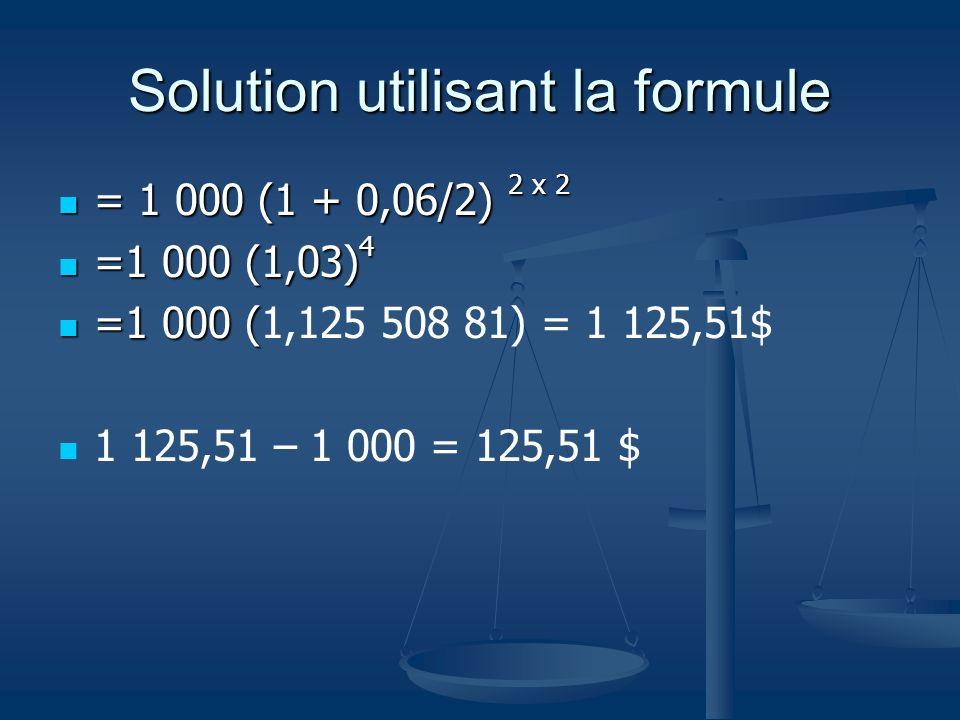 Solution utilisant la formule = 1 000 (1 + 0,06/2) 2 x 2 = 1 000 (1 + 0,06/2) 2 x 2 =1 000 (1,03) 4 =1 000 (1,03) 4 =1 000 ( =1 000 (1,125 508 81) = 1