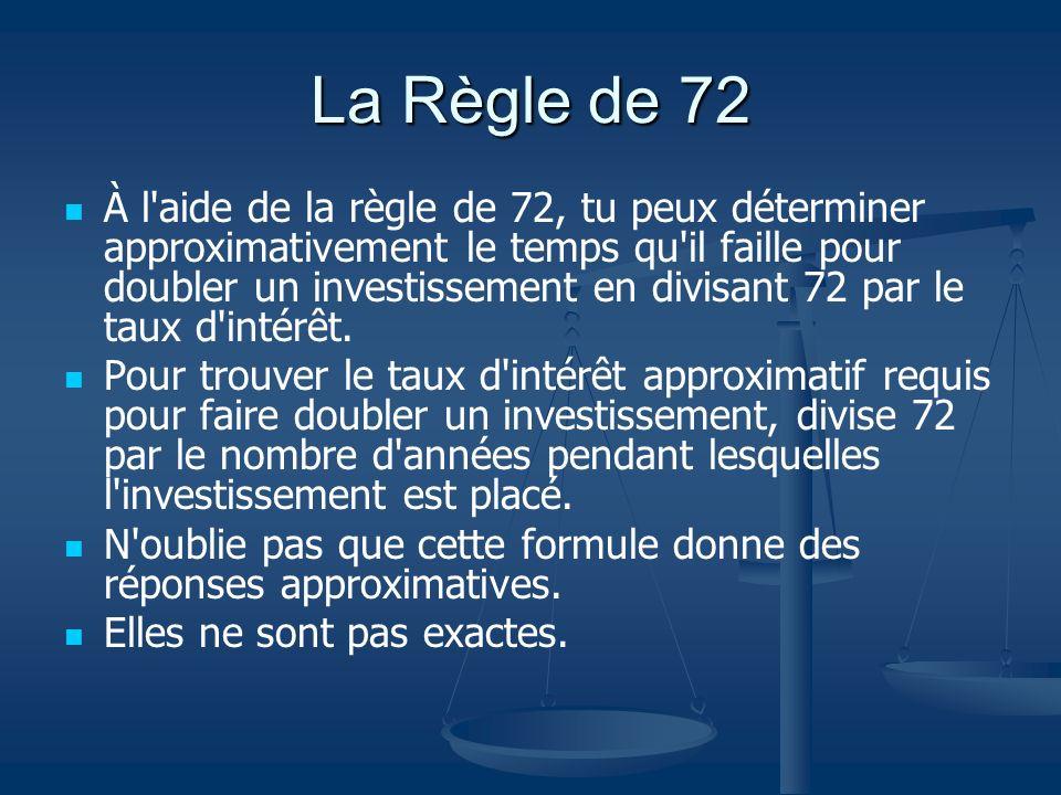 La Règle de 72 À l'aide de la règle de 72, tu peux déterminer approximativement le temps qu'il faille pour doubler un investissement en divisant 72 pa