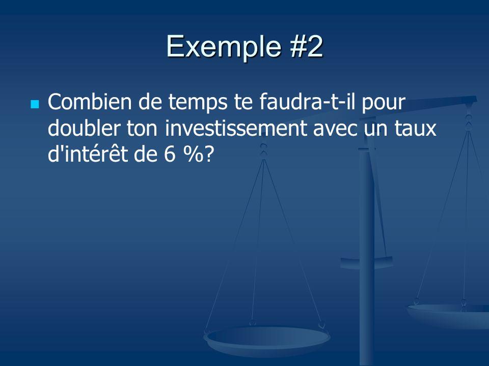 Exemple #2 Combien de temps te faudra-t-il pour doubler ton investissement avec un taux d'intérêt de 6 %?