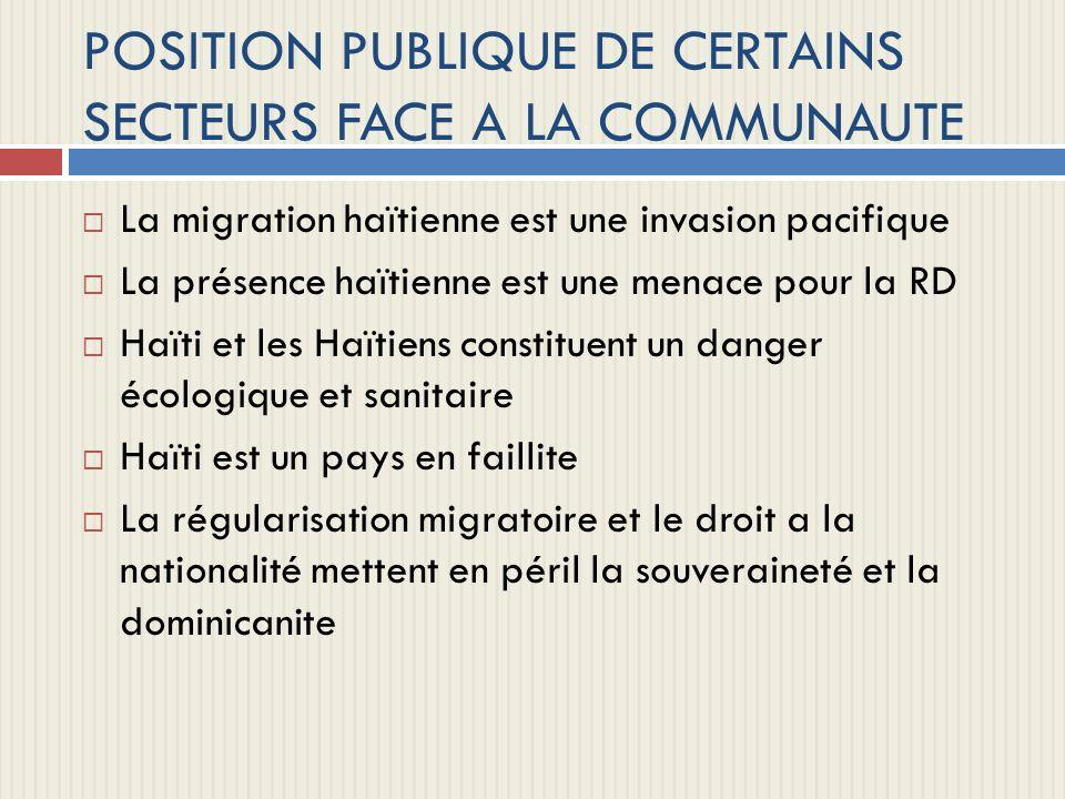 POSITION PUBLIQUE DE CERTAINS SECTEURS FACE A LA COMMUNAUTE La migration haïtienne est une invasion pacifique La présence haïtienne est une menace pou