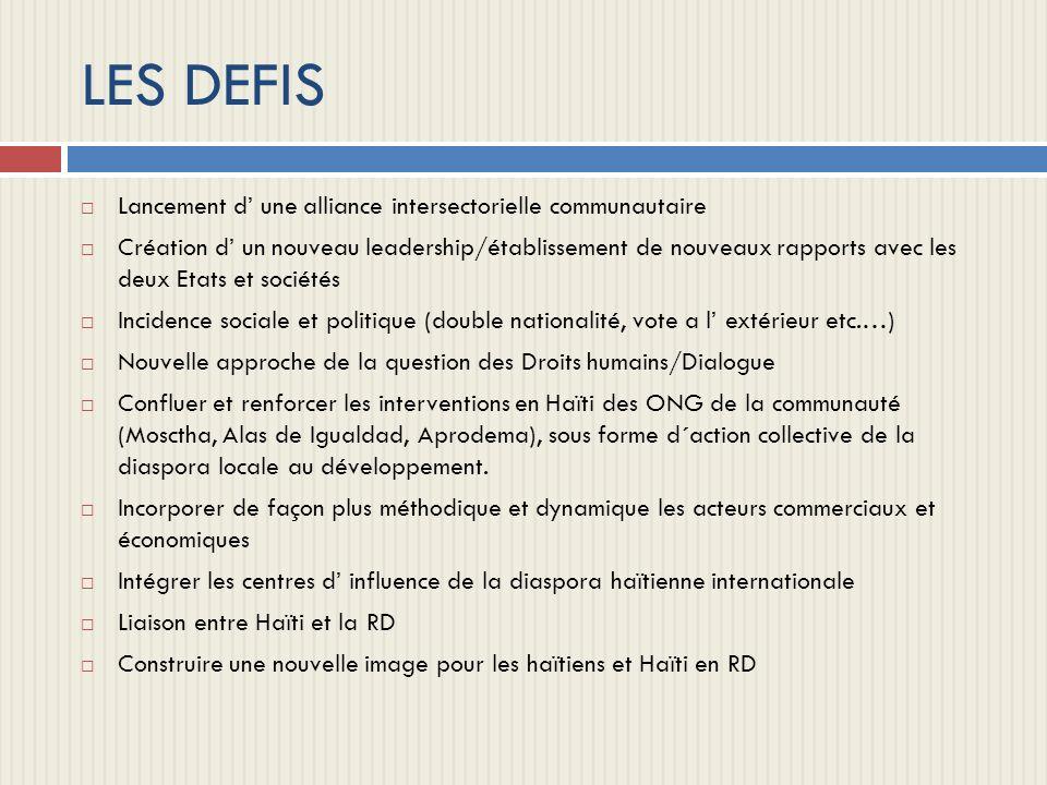 LES DEFIS Lancement d une alliance intersectorielle communautaire Création d un nouveau leadership/établissement de nouveaux rapports avec les deux Et
