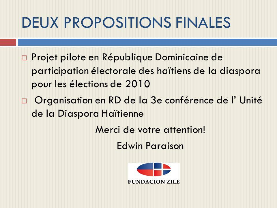 DEUX PROPOSITIONS FINALES Projet pilote en République Dominicaine de participation électorale des haïtiens de la diaspora pour les élections de 2010 O