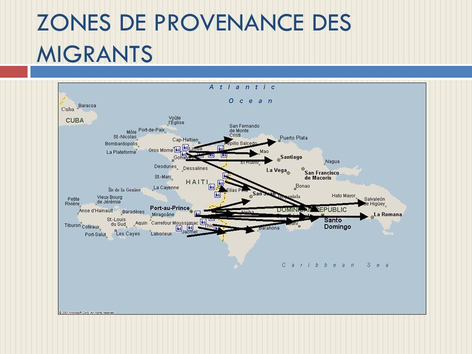 ZONES DE PROVENANCE DES MIGRANTS